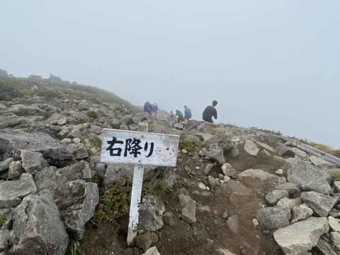 岩木山の頂上の右おりの看板