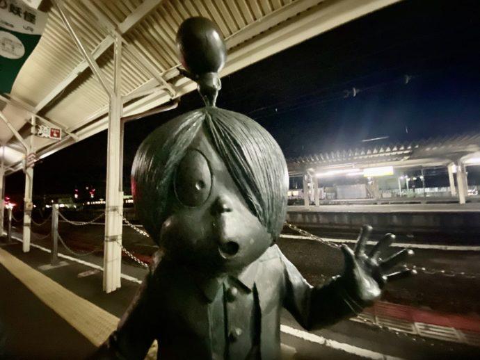 米子駅ホームの鬼太郎ブロンズ像