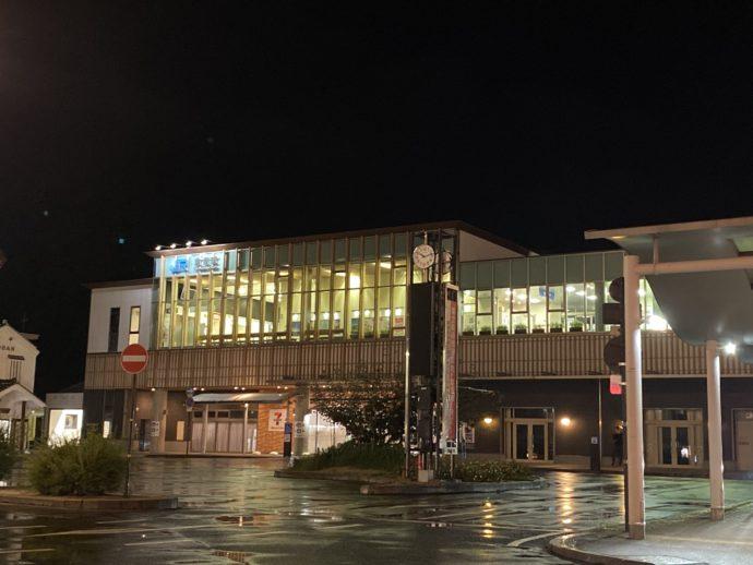 夜のJR倉吉駅