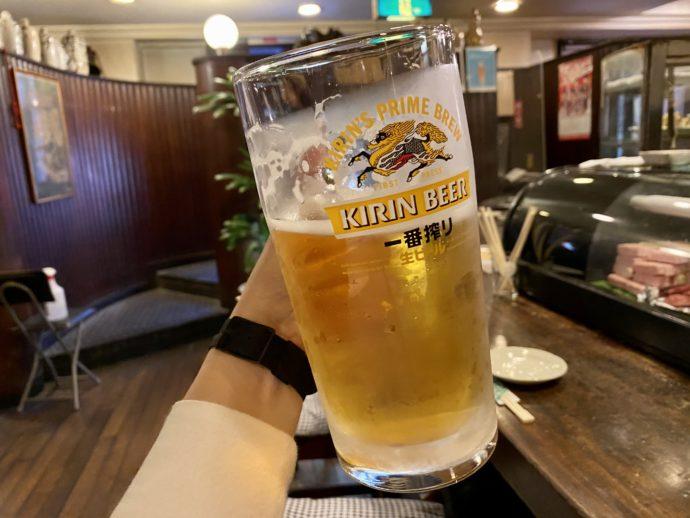 近々に冷えた生ビール大