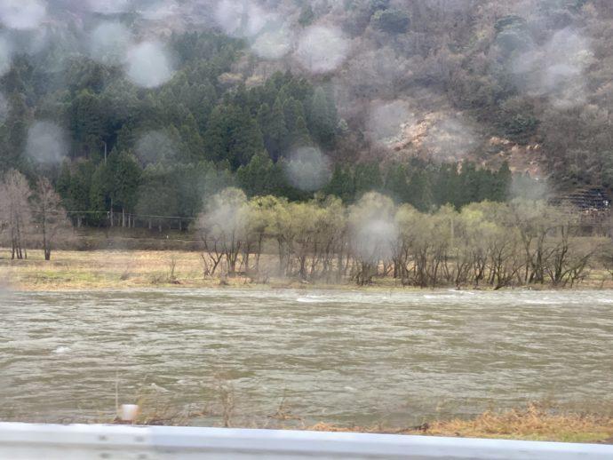 雨の九頭竜川
