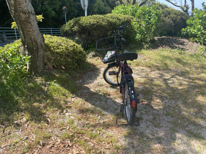 自転車を止めた