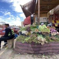 果実店の横で腰をかける警備員