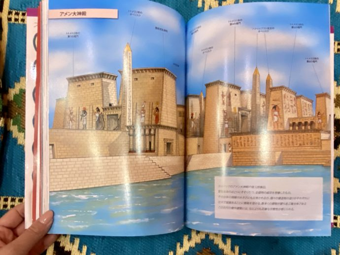エジプトガイドブックの見開きページ