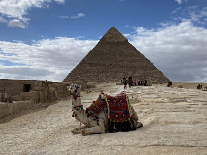 スフィンクスとカフラー王のピラミッドとラクダ