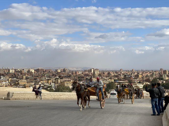 馬車とギザの街