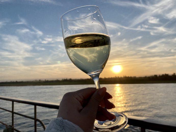 サンセットとワイン