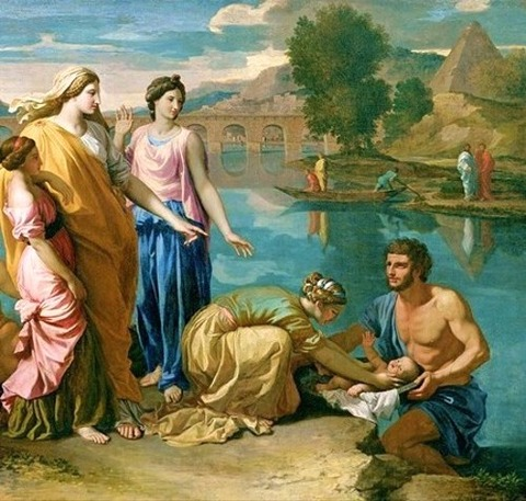 エジプト王女に拾われるモーセ