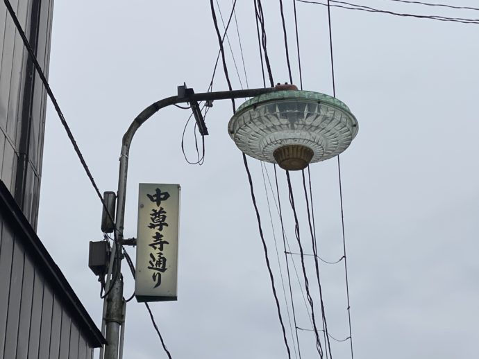 中尊寺通りの街灯