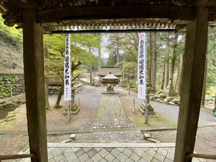 横蔵寺の本堂からみた境内